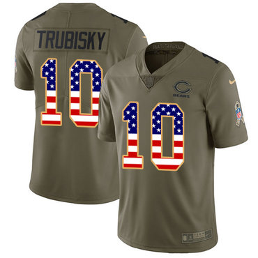 Nike Bears #10 Mitchell Trubisky Olive USA Flag Men's Stitched NFL Limited 2017 Salute To Service Jersey