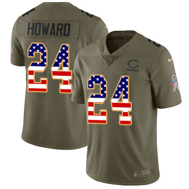 Nike Bears #24 Jordan Howard Olive USA Flag Men's Stitched NFL Limited 2017 Salute To Service Jersey