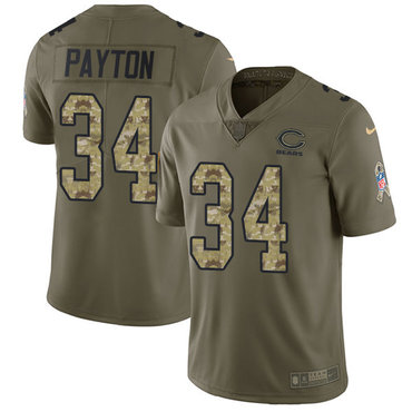 Nike Bears #34 Walter Payton Olive Camo Men's Stitched NFL Limited 2017 Salute To Service Jersey