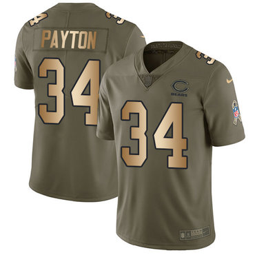 Nike Bears #34 Walter Payton Olive Gold Men's Stitched NFL Limited 2017 Salute To Service Jersey