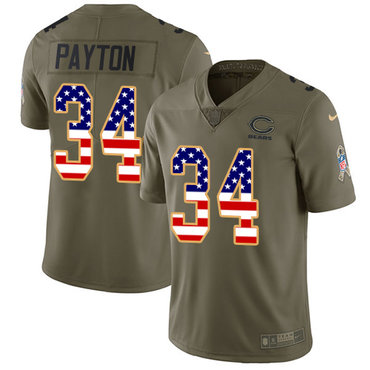 Nike Bears #34 Walter Payton Olive USA Flag Men's Stitched NFL Limited 2017 Salute To Service Jersey