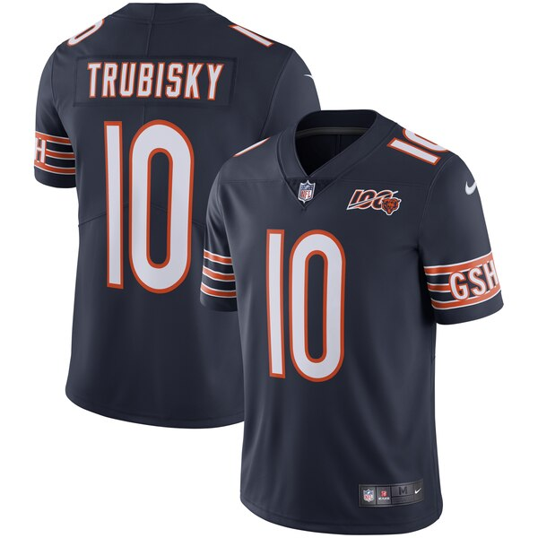 Nike Bears 10 Mitchell Trubisky Navy NFL 100th Season Vapor Untouchable Limited Jersey