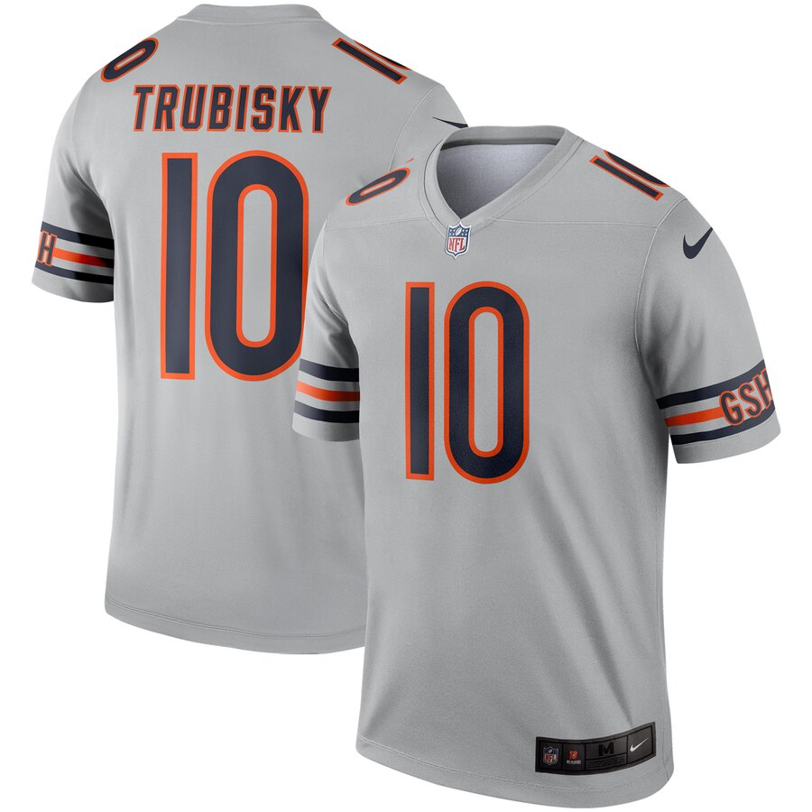 Nike Bears 10 Mitchell Trubisky Silver Inverted Legend Jersey
