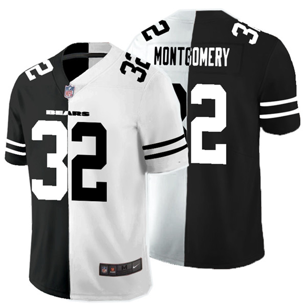 Nike Bears 32 David Montgomery Black And White Split Vapor Untouchable Limited Jersey