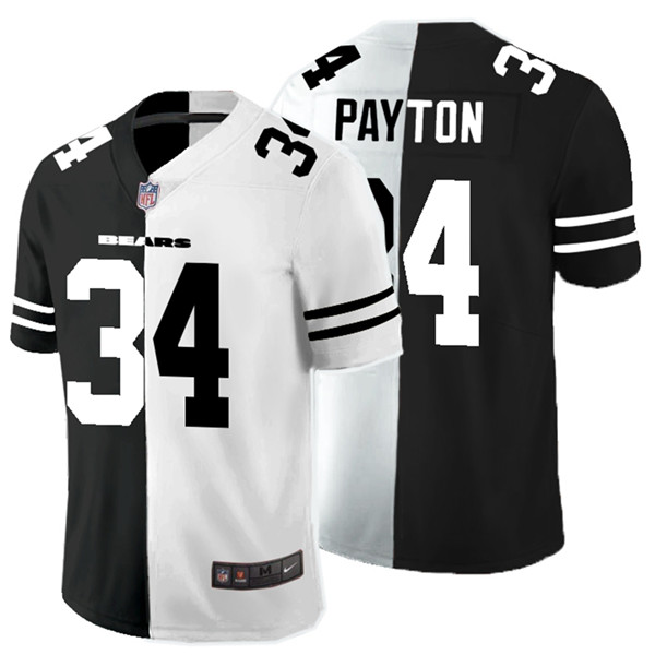 Nike Bears 34 Walter Payton Black And White Split Vapor Untouchable Limited Jersey