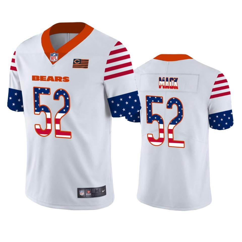 Nike Bears 52 Khalil Mack White USA Flag Fashion Limited Jersey