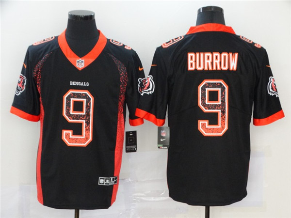 Nike Bengals 9 Joe Burrow Black Drift Fashion Limited Jersey