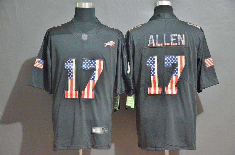 Nike Bills 17 Josh Allen 2019 Salute To Service USA Flag Fashion Limited Jersey