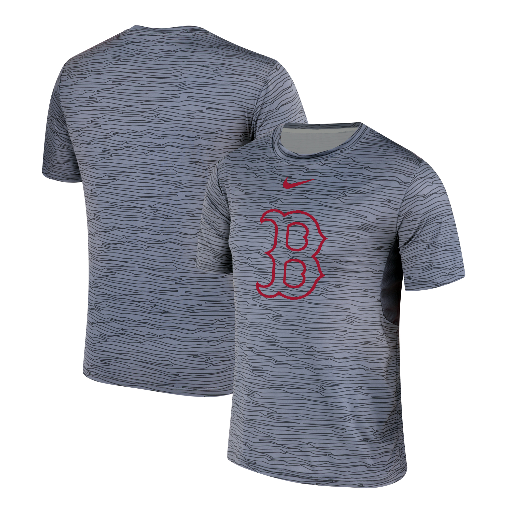 Nike Boston Red Sox Gray Black Striped Logo Performance T-Shirt