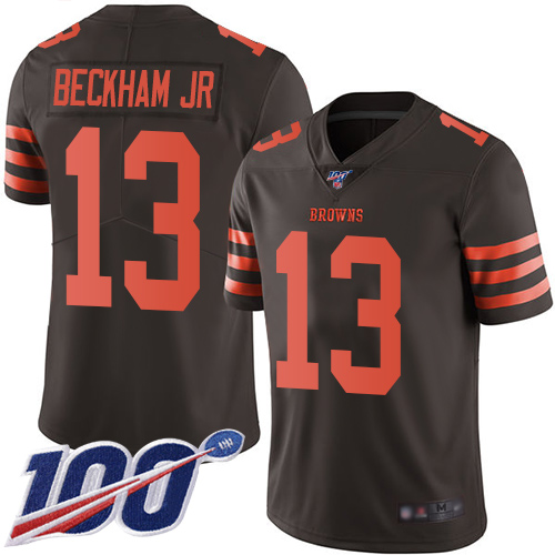 Nike Browns #13 Odell Beckham Jr Brown Men's Stitched Football Limited Rush 100th Season Jersey