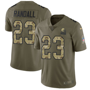 Nike Browns #23 Damarious Randall Olive Camo Men's Stitched NFL Limited 2017 Salute To Service Jersey