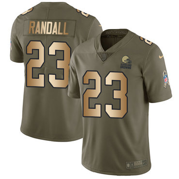 Nike Browns #23 Damarious Randall Olive Gold Men's Stitched NFL Limited 2017 Salute To Service Jersey