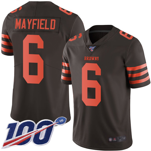 Nike Browns #6 Baker Mayfield Brown Men's Stitched Football Limited Rush 100th Season Jersey