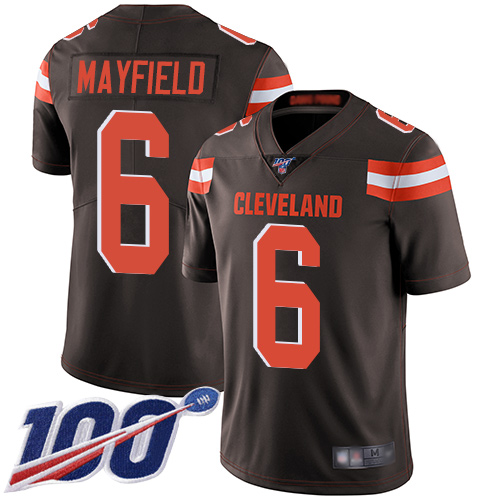 Nike Browns #6 Baker Mayfield Brown Team Color Men's Stitched Football 100th Season Vapor Limited Jersey