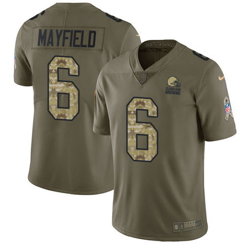 Nike Browns #6 Baker Mayfield Olive Camo Men's Stitched NFL Limited 2017 Salute To Service Jersey
