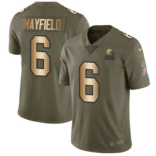 Nike Browns #6 Baker Mayfield Olive Gold Men's Stitched NFL Limited 2017 Salute To Service Jersey