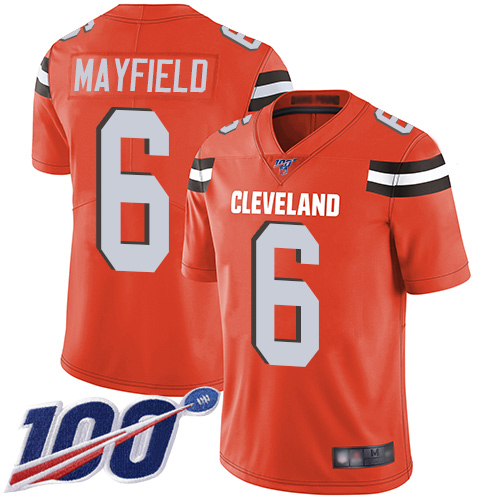Nike Browns #6 Baker Mayfield Orange Alternate Men's Stitched Football 100th Season Vapor Limited Jersey