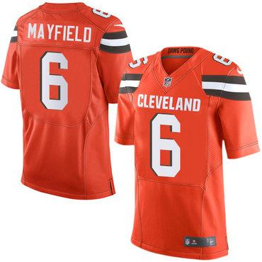 Nike Browns #6 Baker Mayfield Orange Alternate Men's Stitched NFL Elite Jersey