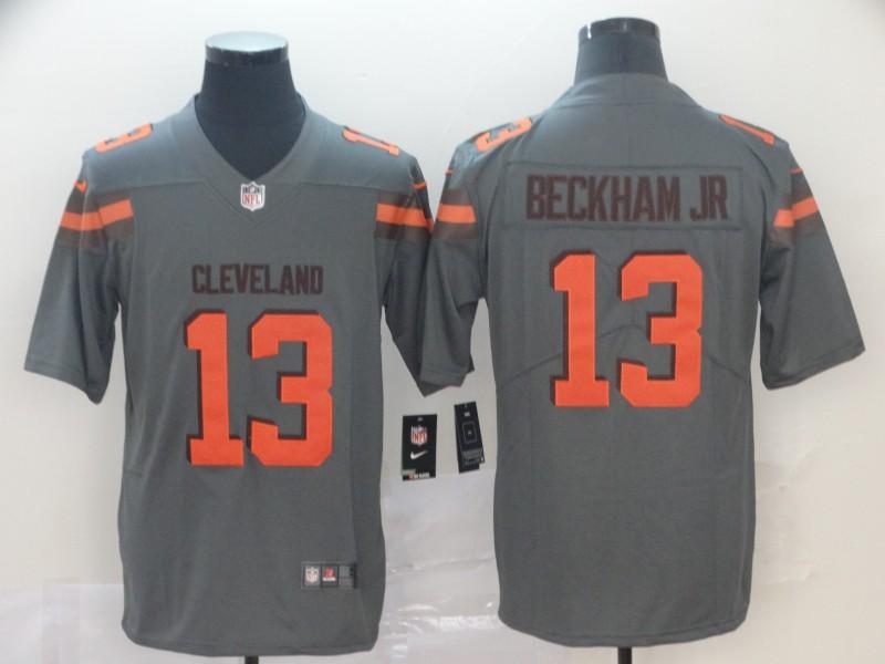 Nike Browns 13 Odell Beckham Jr Gray Inverted Legend Limited Jersey