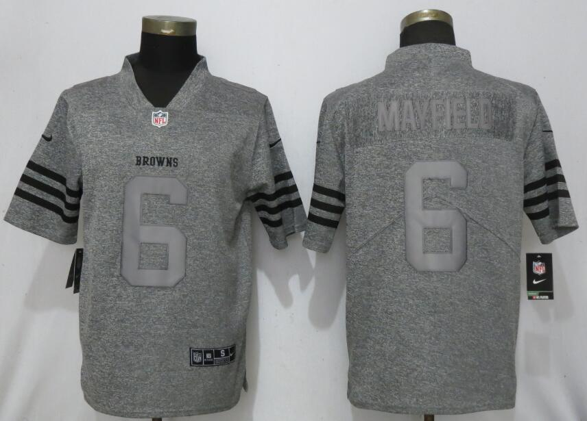 Nike Browns 6 Baker Mayfield Gray Gridiron Gray Vapor Untouchable Limited Jersey