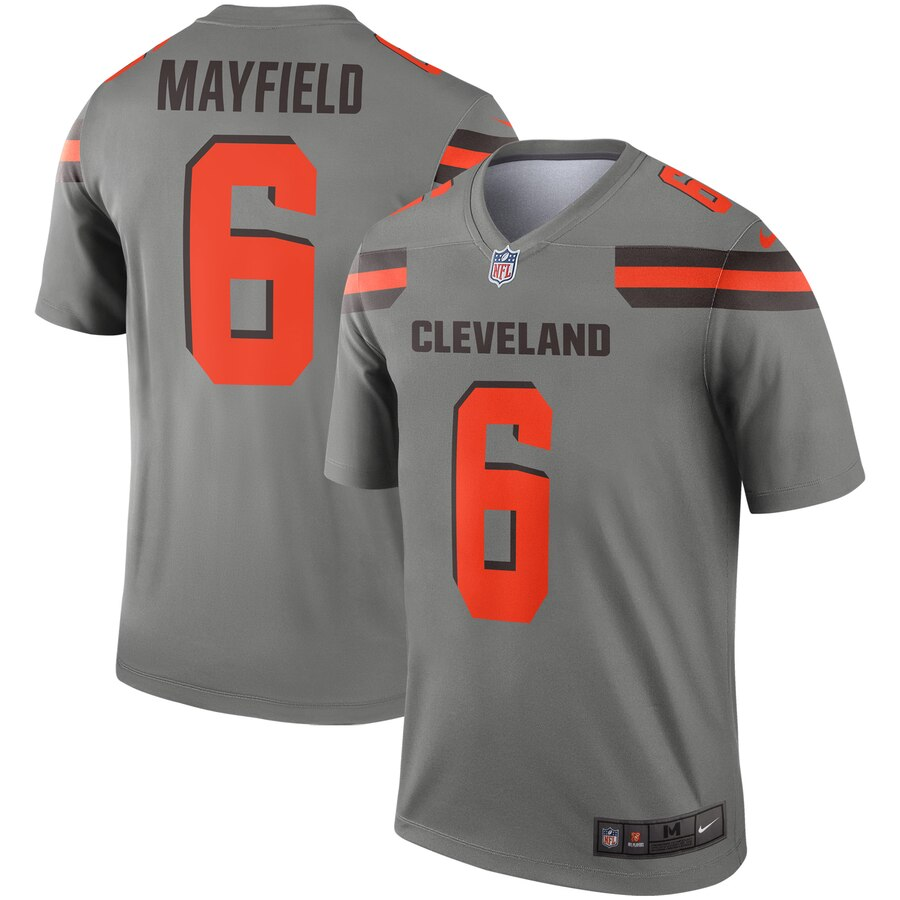 Nike Browns 6 Baker Mayfield Gray Inverted Legend Jersey