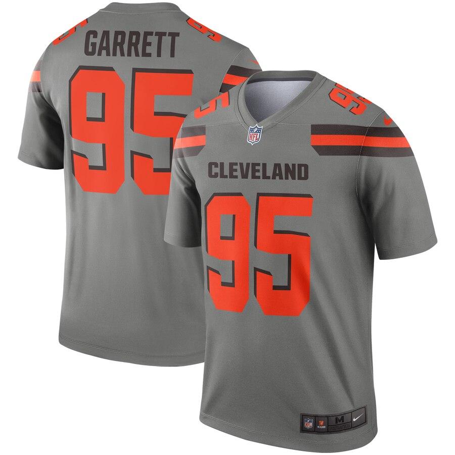 Nike Browns 95 Myles Garrett Gray Inverted Legend Jersey