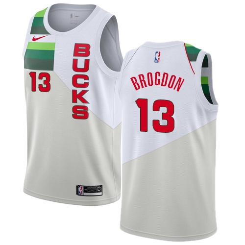Nike Bucks #13 Malcolm Brogdon White NBA Swingman Earned Edition Jersey