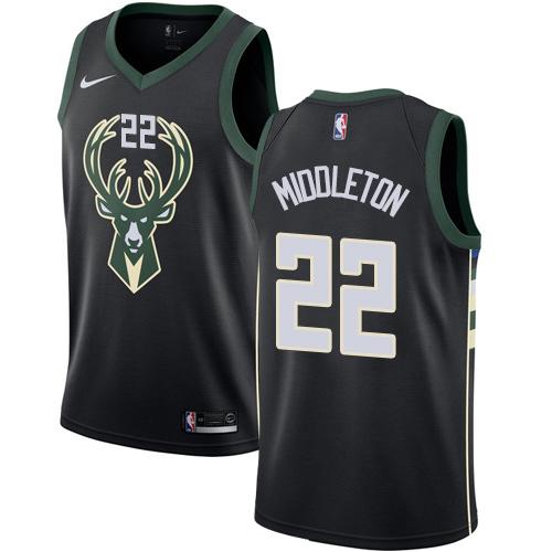 Nike Bucks #22 Khris Middleton Black NBA Swingman Statement Edition Jersey