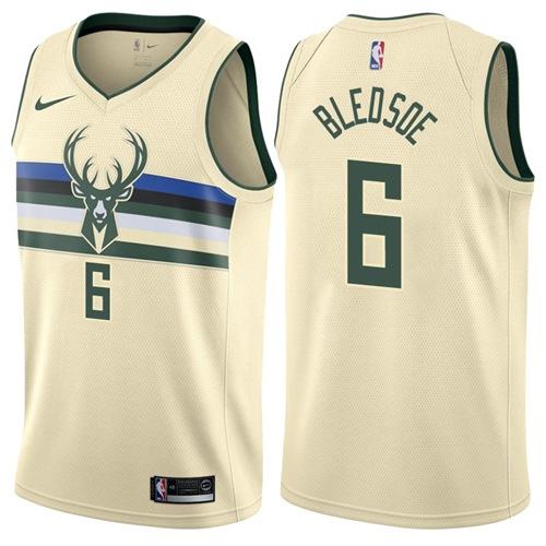 Nike Bucks #6 Eric Bledsoe Cream NBA Swingman City Edition Jersey