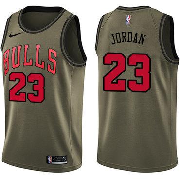 Nike Bulls #23 Michael Jordan Green Salute to Service NBA Swingman Jersey