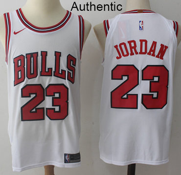 Nike Bulls #23 Michael Jordan White NBA Authentic Association Edition Jersey