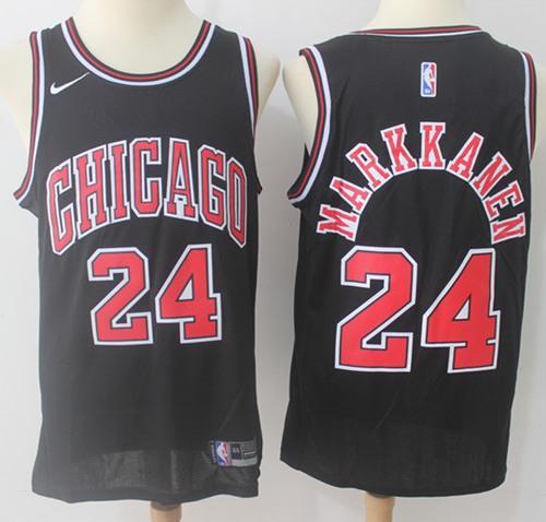 Nike Bulls #24 Lauri Markkanen Black NBA Swingman Jersey