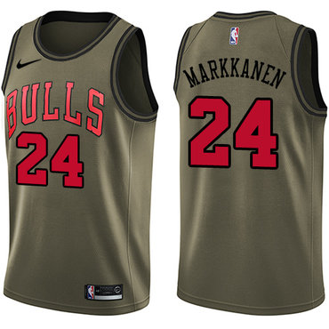 Nike Bulls #24 Lauri Markkanen Green Salute to Service NBA Swingman Jersey