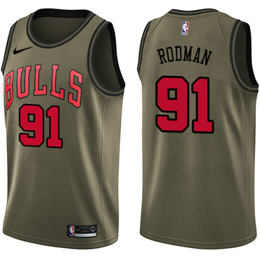 Nike Bulls #91 Dennis Rodman Green Salute to Service NBA Swingman Jersey