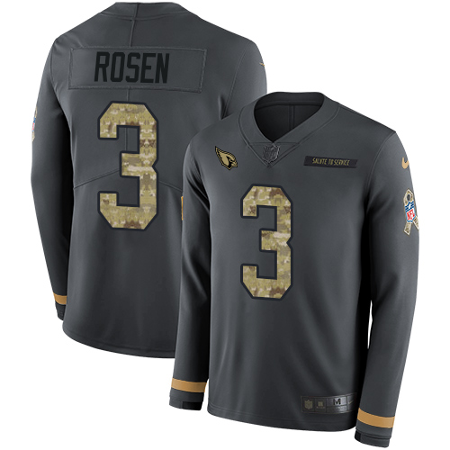 Nike Cardinals #3 Josh Rosen Anthracite Salute to Service Men's Stitched NFL Limited Therma Long Sleeve Jersey