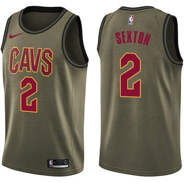 Nike Cavaliers #2 Collin Sexton Green NBA Swingman Salute to Service Jersey