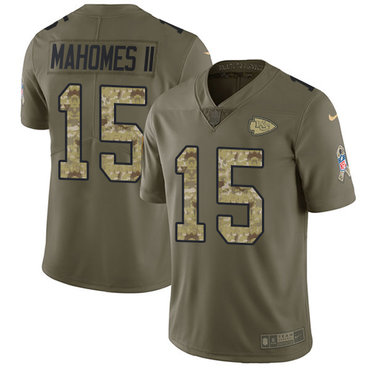 Nike Chiefs #15 Patrick Mahomes II Olive Camo Youth Stitched NFL Limited 2017 Salute to Service Jersey