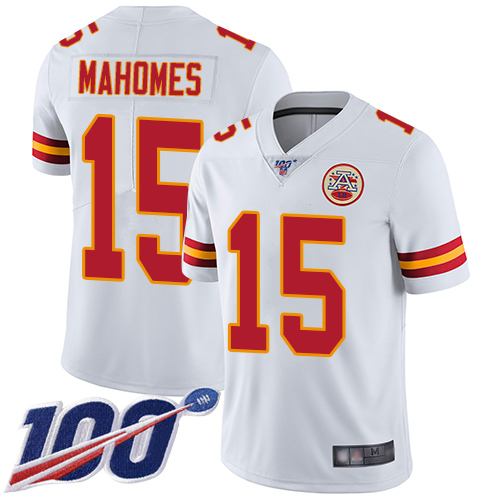 Nike Chiefs #15 Patrick Mahomes White Men's Stitched Football 100th Season Vapor Limited Jersey