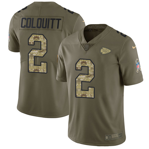 Nike Chiefs #2 Dustin Colquitt Olive Camo Youth Stitched NFL Limited 2017 Salute to Service Jersey