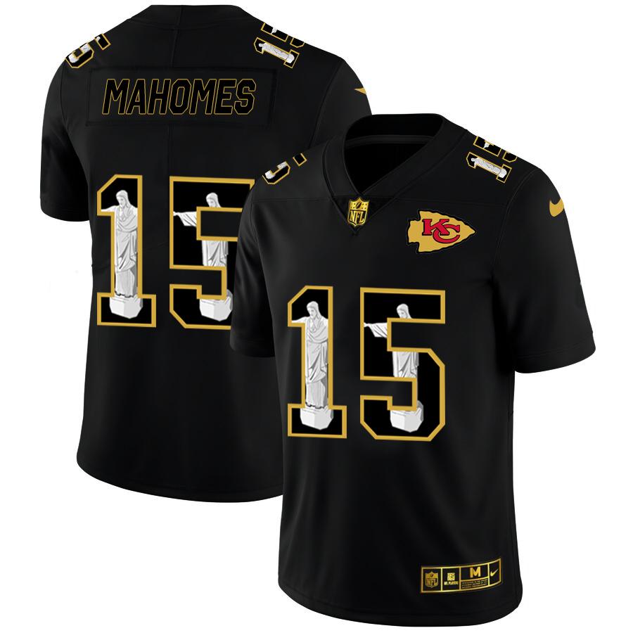 Nike Chiefs 15 Patrick Mahomes Black Jesus Faith Edition Limited Jersey