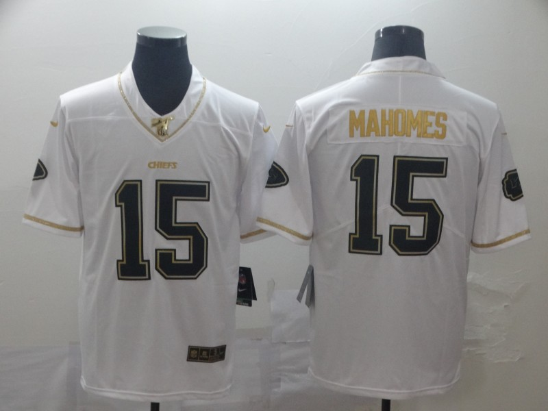 Nike Chiefs 15 Patrick Mahomes White Gold Vapor Untouchable Limited Jersey