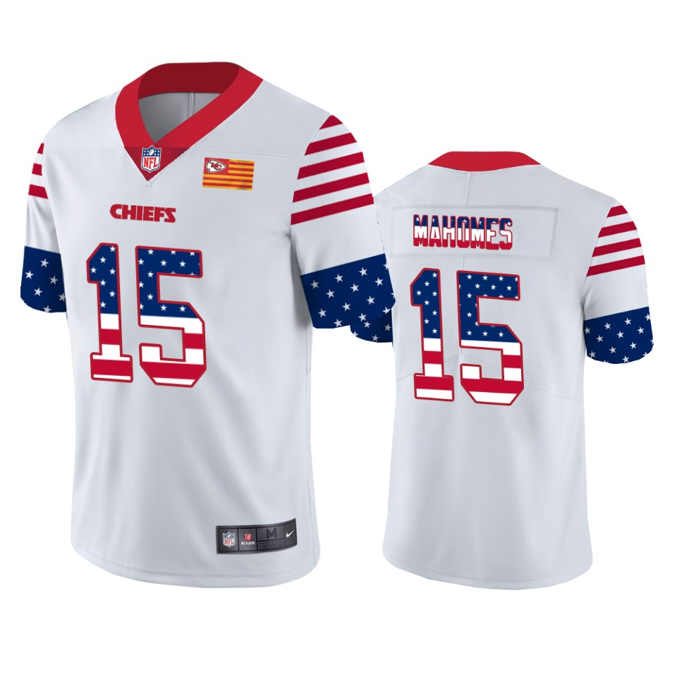Nike Chiefs 15 Patrick Mahomes White USA Flag Fashion Limited Jersey