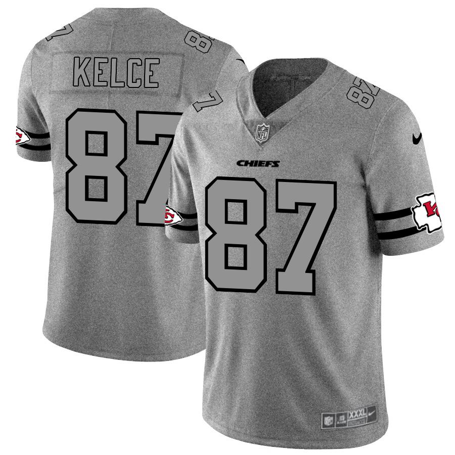 Nike Chiefs 87 Travis Kelce 2019 Gray Gridiron Gray Vapor Untouchable Limited Jersey