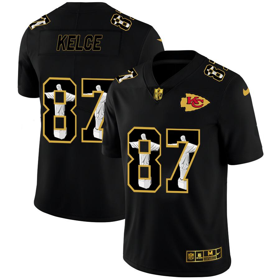 Nike Chiefs 87 Travis Kelce Black Jesus Faith Edition Limited Jersey