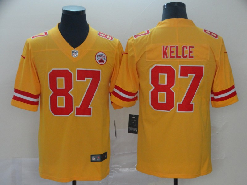 Nike Chiefs 87 Travis Kelce Gold Inverted Legend Limited Jersey