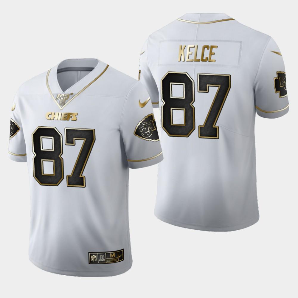Nike Chiefs 87 Travis Kelce White 100th Season Vapor Untouchable Limited Jersey