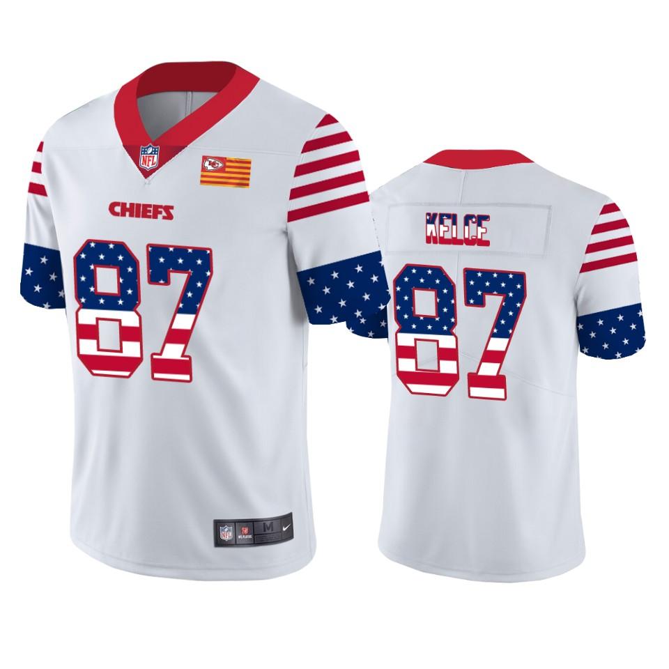 Nike Chiefs 87 Travis Kelce White USA Flag Fashion Limited Jersey