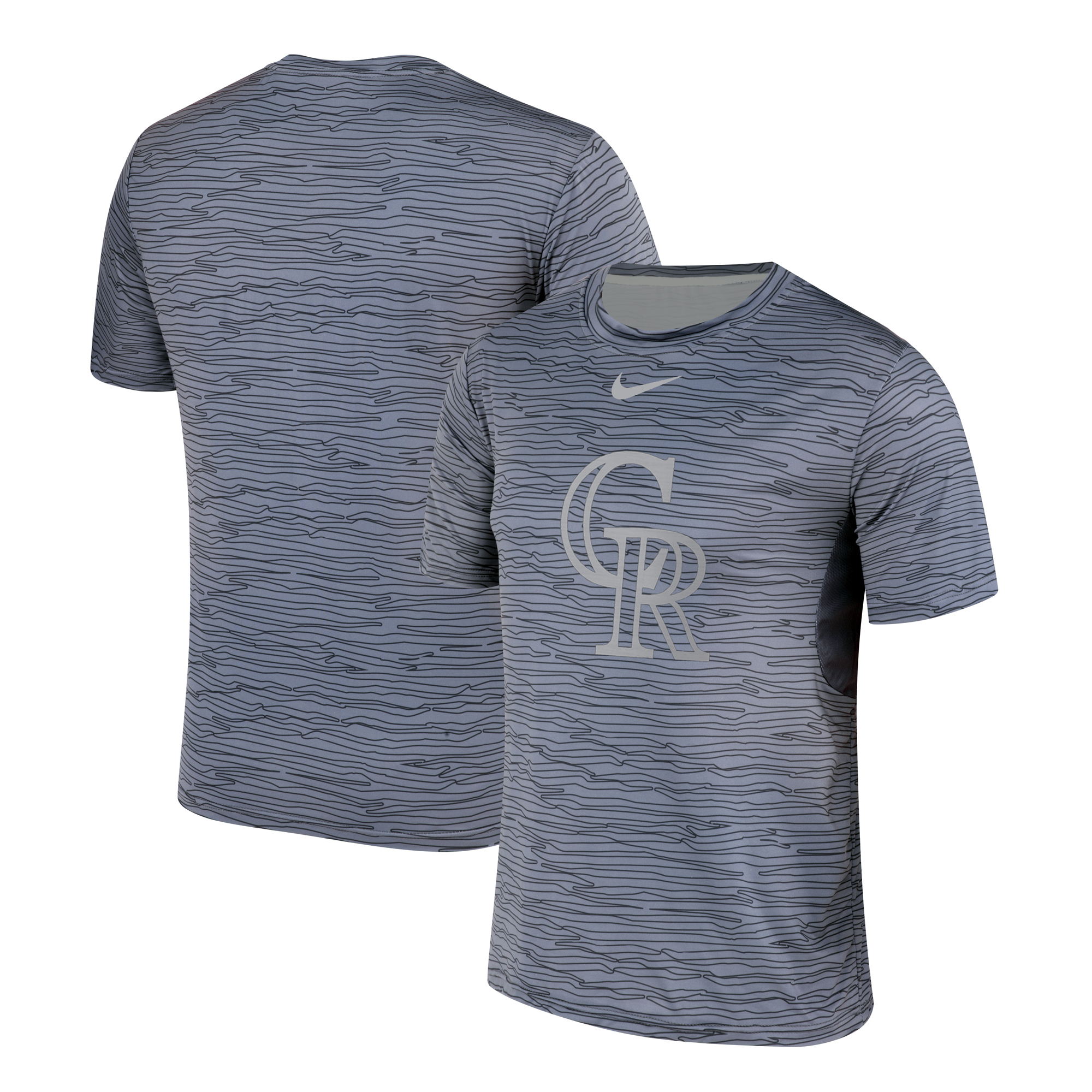Nike Colorado Rockies Gray Black Striped Logo Performance T-Shirt