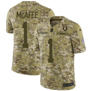Nike Colts #1 Pat McAfee Camo Youth Stitched NFL Limited 2018 Salute to Service Jersey
