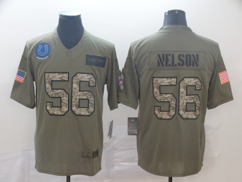 Nike Colts 56 Quenton Nelson 2019 Olive Camo Salute To Service Limited Jersey